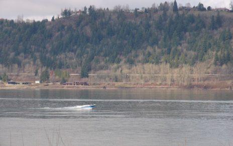 Small boat cruising river