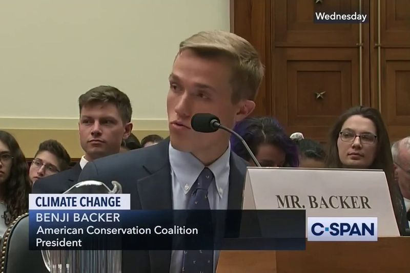 Man testifying about climate change
