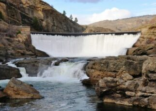 Water spilling over dam