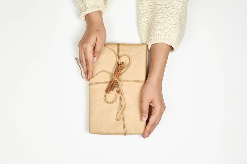 Woman's hands on gift