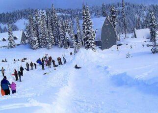 Families sledding on small mountain