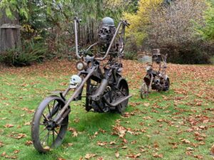Metal skeleton figures on motorcycles
